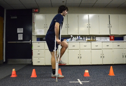 Walking over cones with his crutches is the most intense exercise Fuery is allowed to participate in during his rehabilitation process. The average recovery time for a torn ACL is 4 to 6 months, which means Feury, a senior, will miss the rest of the rugby season.